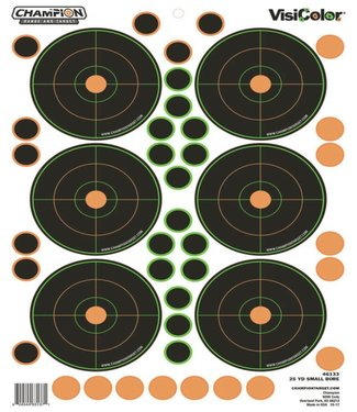 CHAMPION CHAMPION VISICOLOR ADHESIVE 25YD SMALL BORE TARGET [5 PACK]