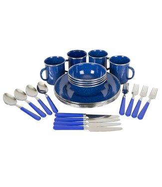 STANSPORT DELUXE 24-PIECE ENAMEL TABLEWARE SET BLUE