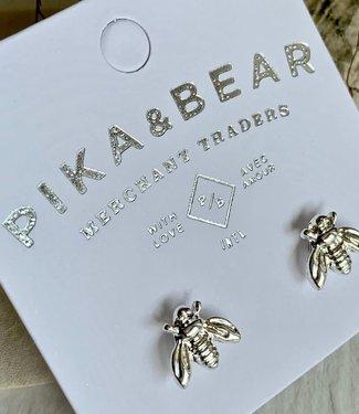 Pika & Bear Wildflower Bee Stud Earrings