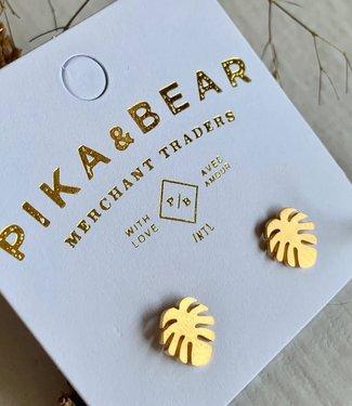 PIKA & BEAR Pika & Bear Monstera Leaf Stud Earrings