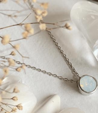 Pika & Bear Sterling Silver Swarovski Opal Pendant Necklace