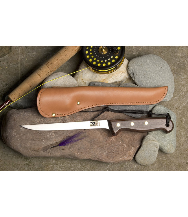"""Grohmann 7"""" Blade Fillet Knife with Leather Sheath"""