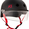 S-1 Lifer Visor Helmet - Black Matte w/ Red Straps