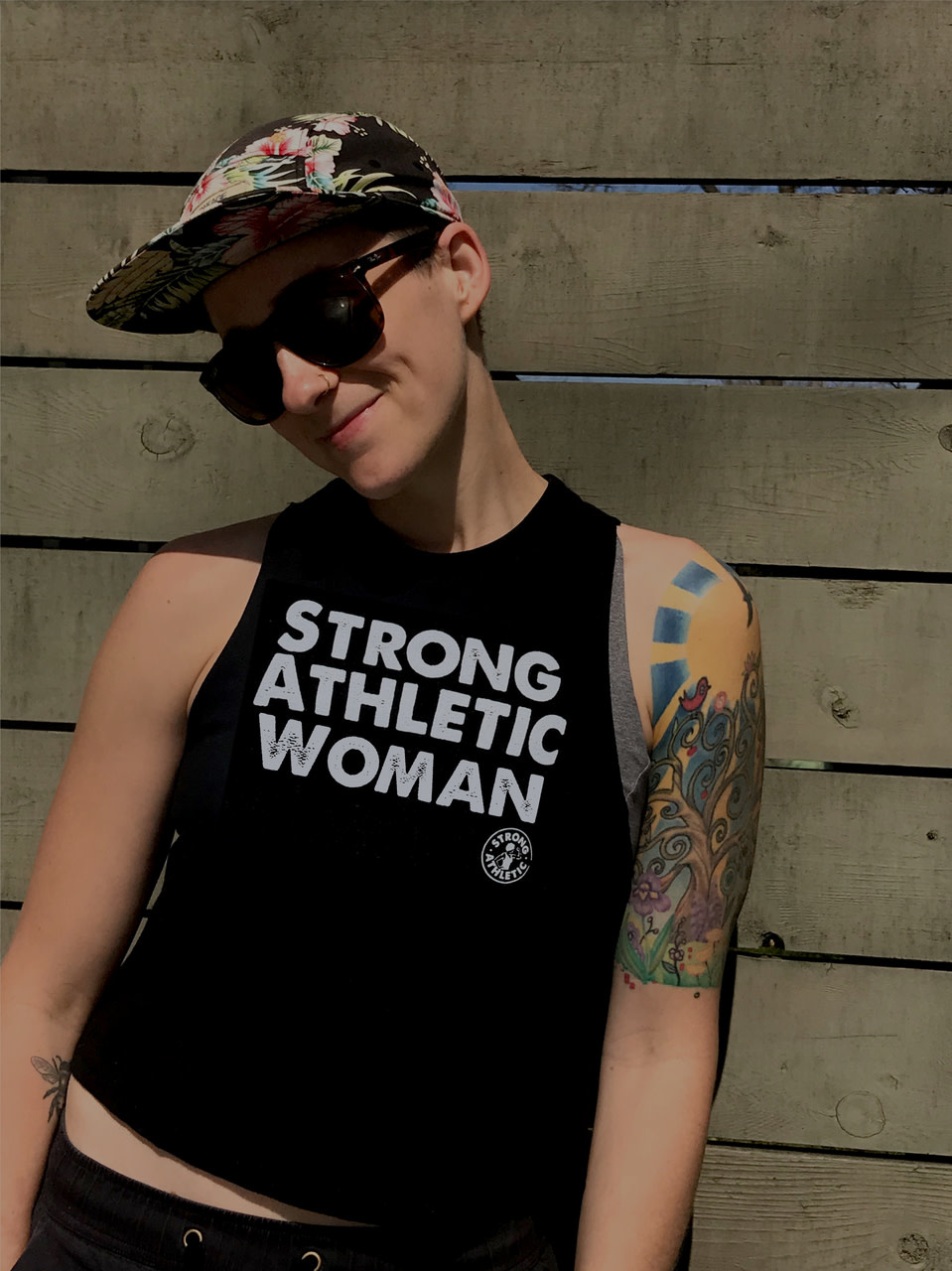 Strong Athletic Woman Tank Black/White