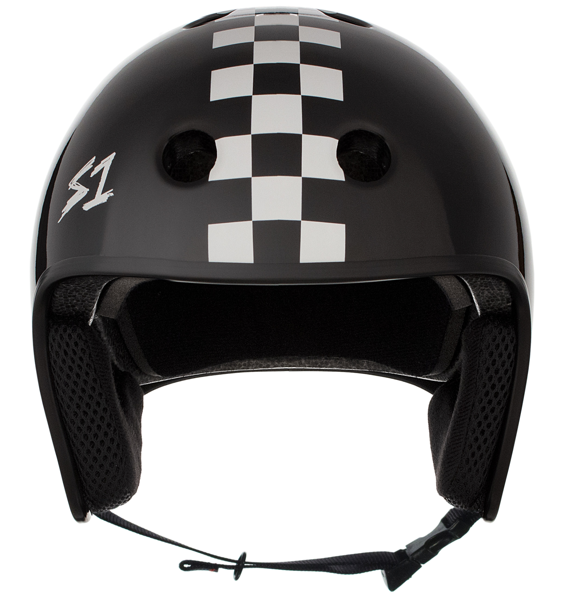 S-1 Retro Lifer Helmet - Black Gloss w/ White Checkers