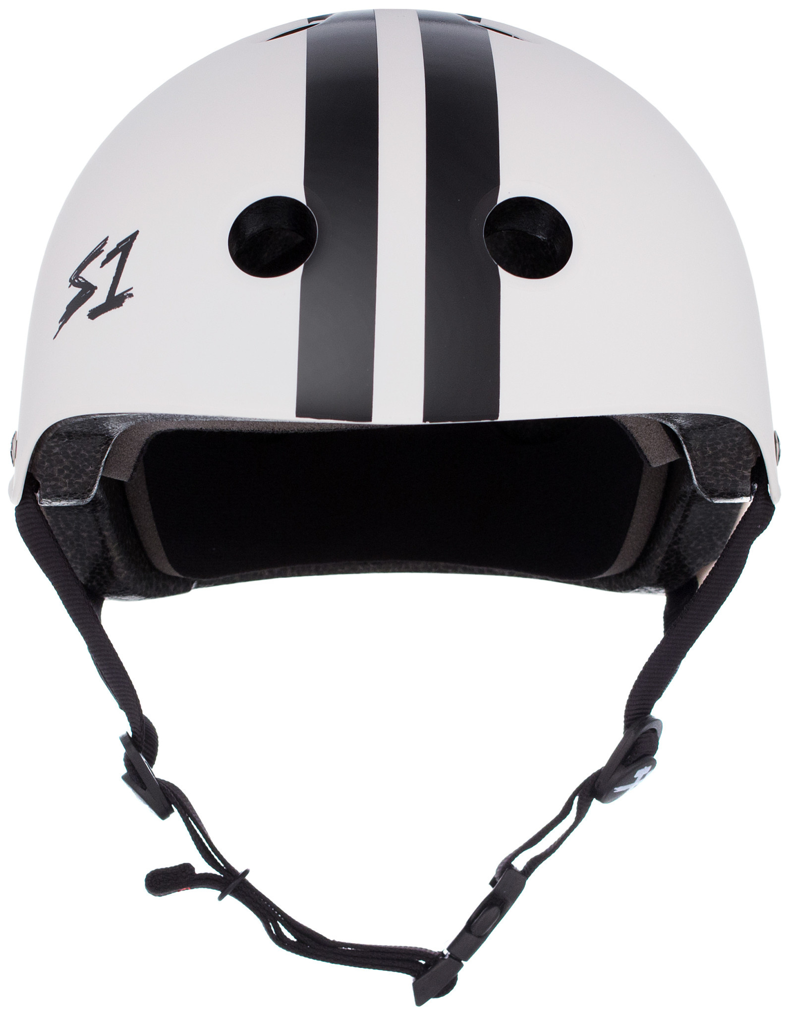 S-1 Lifer Helmet - White Gloss w/ Black Stripes