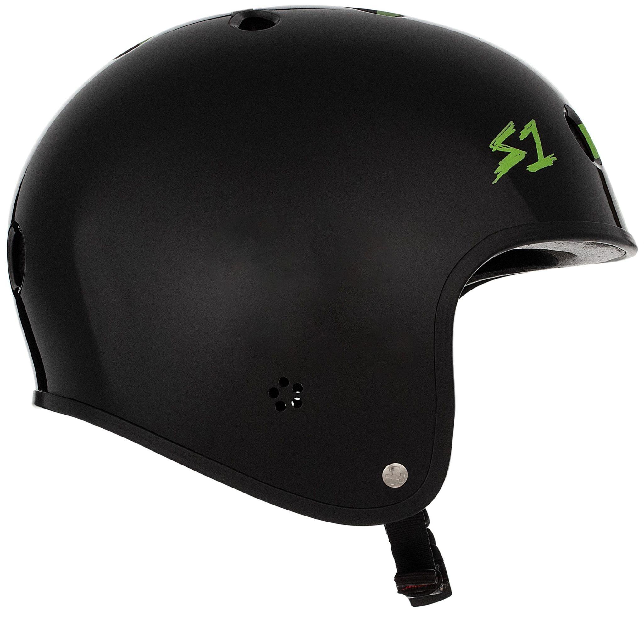 S-1 Retro Lifer Helmet - Black Gloss w/ Bright Green Checkers