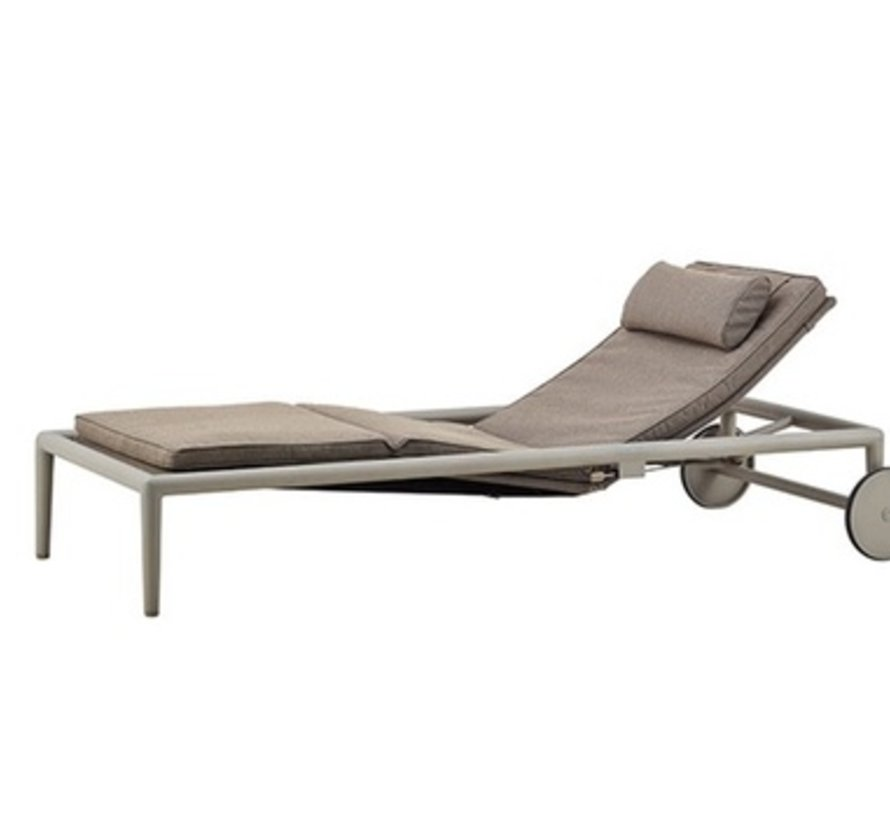 CONIC SUNBED WITH CUSHION IN BROWN CANE-LINE SOFT TOUCH
