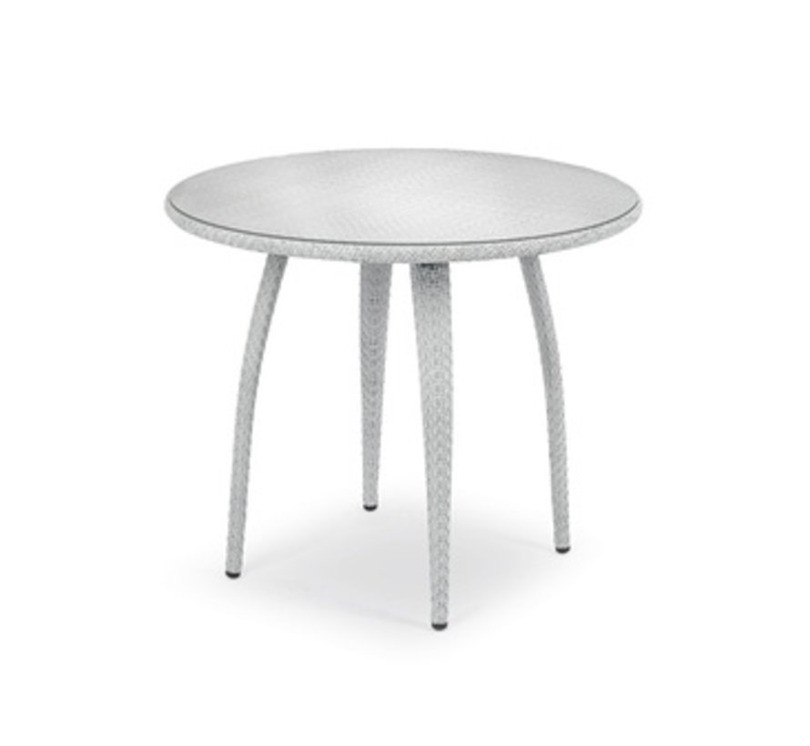 TANGO 36 INCH ROUND DINING TABLE IN BASALTO WITH CLEAR GLASS TOP