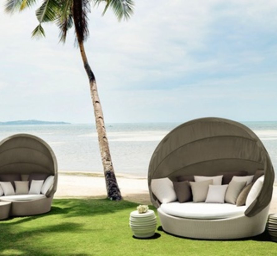 ORBIT LOVESEAT IN NATURAL WITH WHITE CANOPY