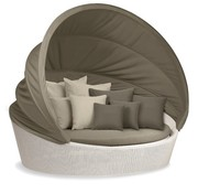 DEDON, INC. ORBIT XXL IN CHALK WITH TAUPE CANOPY