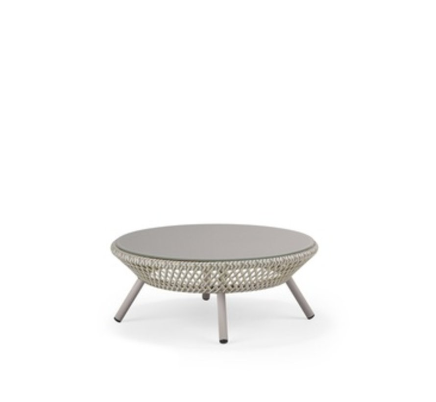 AHNDA COFFEE TABLE IN WHITE QUARTZ WEAVE WITH LIPARI GLASS TOP