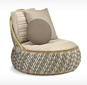DEDON, INC. DALA LOUNGE CHAIR IN COLOR STONE WITH BACK AND SEAT CUSHIONS