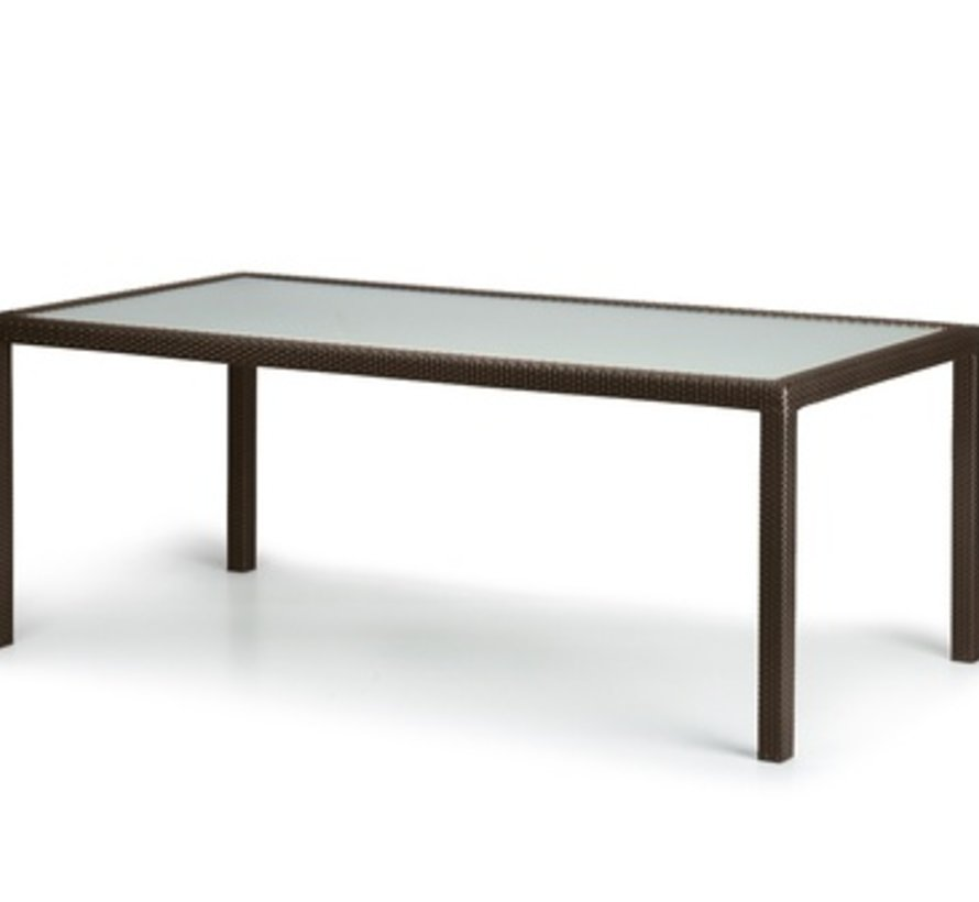PANAMA 39 x 79 DINING TABLE IN BRONZE WITH SATINATED GLASS TOP