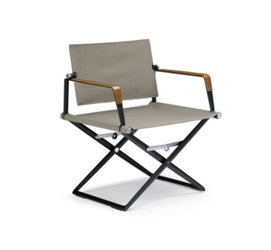 SEAX LOUNGE CHAIR / BLACK FRAME / SAIL TAUPE TEXTILE / SEA-BENT PLYWOOD ARM ACCENTS