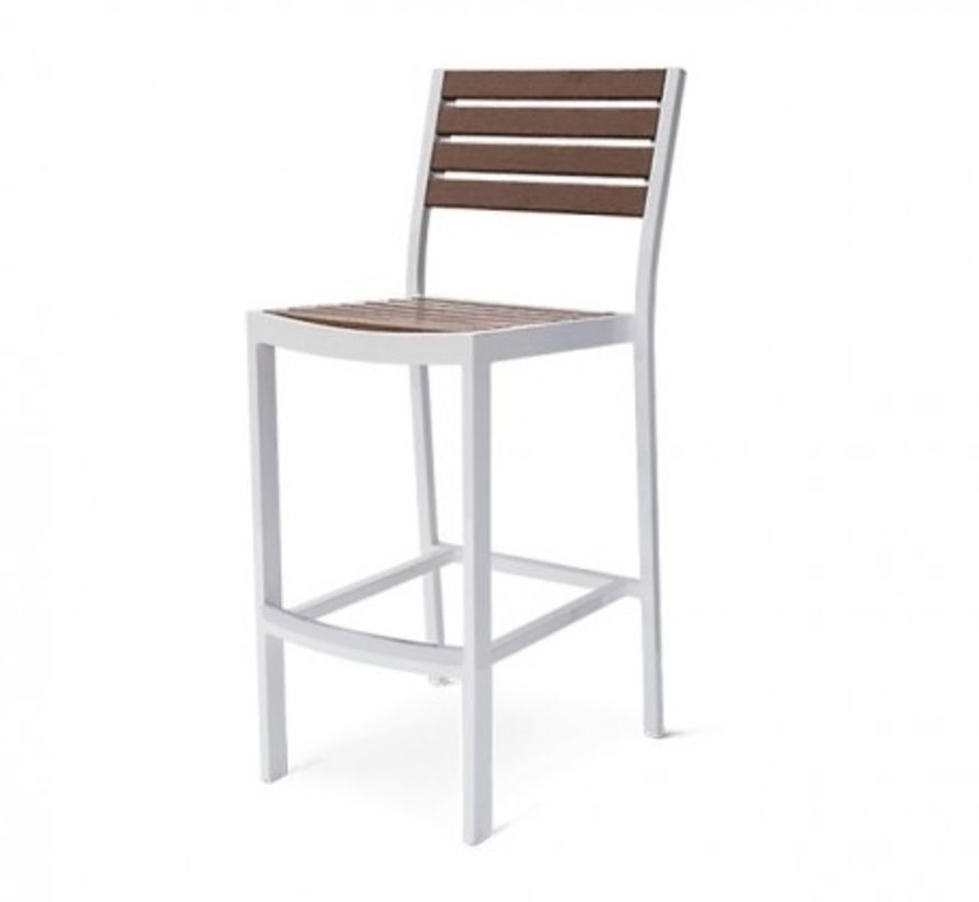 ECOWOOD BLEAU ARMLESS BAR CHAIR, STANDARD POWDER COATED ALUMINUM FRAME    Kolo Collection