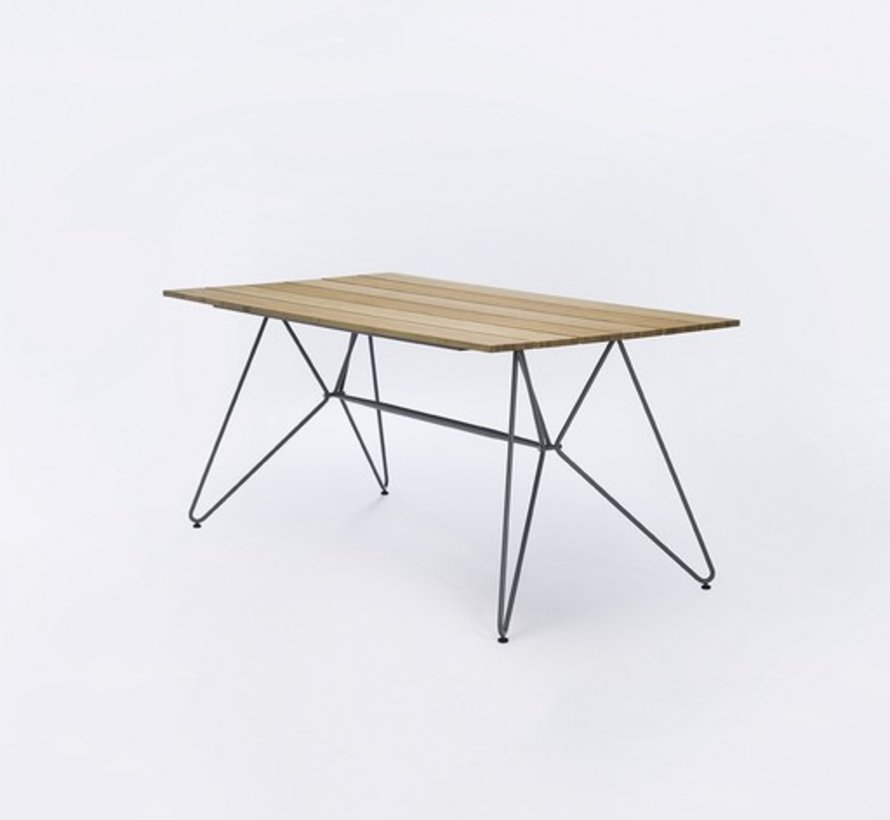 SKETCH 35x63 DINING TABLE WITH BAMBOO WOOD TOP AND POWDER COATED STEEL BASE