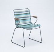 CLICK DINING ARM CHAIR WITH MULTI COLOR POLYPROPYLENE PLASTIC SEAT AND BACK, POWDER COATED STEEL FRAME AND BAMBOO ARM RESTS.