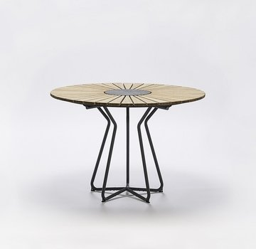 CIRCLE 43 INCH ROUND TABLE WITH BAMBOO SLATS, GRANITE CENTER AND POWDER COATED STEEL FRAME