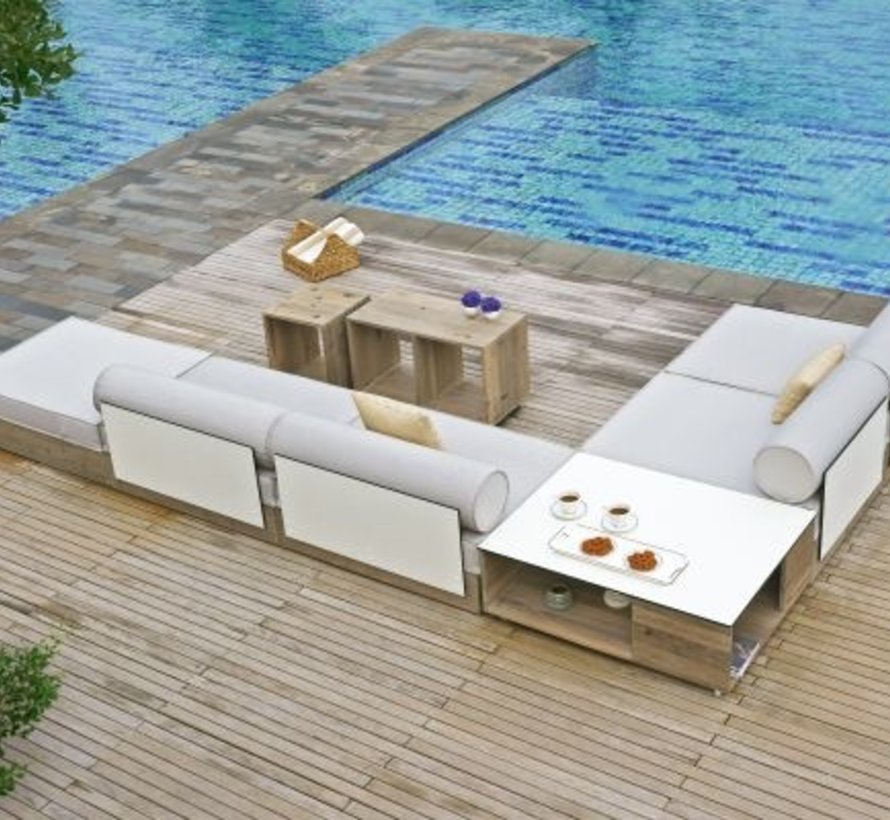 AIKO SECTIONAL ARMLESS MODULE WITH TEAK BASE, HPL BACK AND SAILCLOTH FABRIC