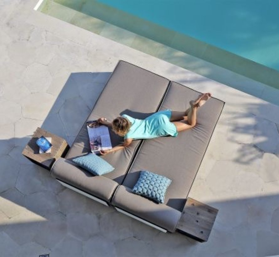 AIKO SECTIONAL LOUNGER MODULE WITH TEAK BASE, HPL BACK AND SAILCLOTH FABRIC
