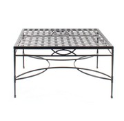 AMALFI LIVING 36 INCH SQUARE COFFEE TABLE WITH WOVEN TOP IN EPOXY COATED STEEL