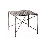 AMALFI LIVING OCCASSIONAL 22x22 SQUARE STAR BASE TABLE, WOVEN TOP,  EPOXY COATED STEEL