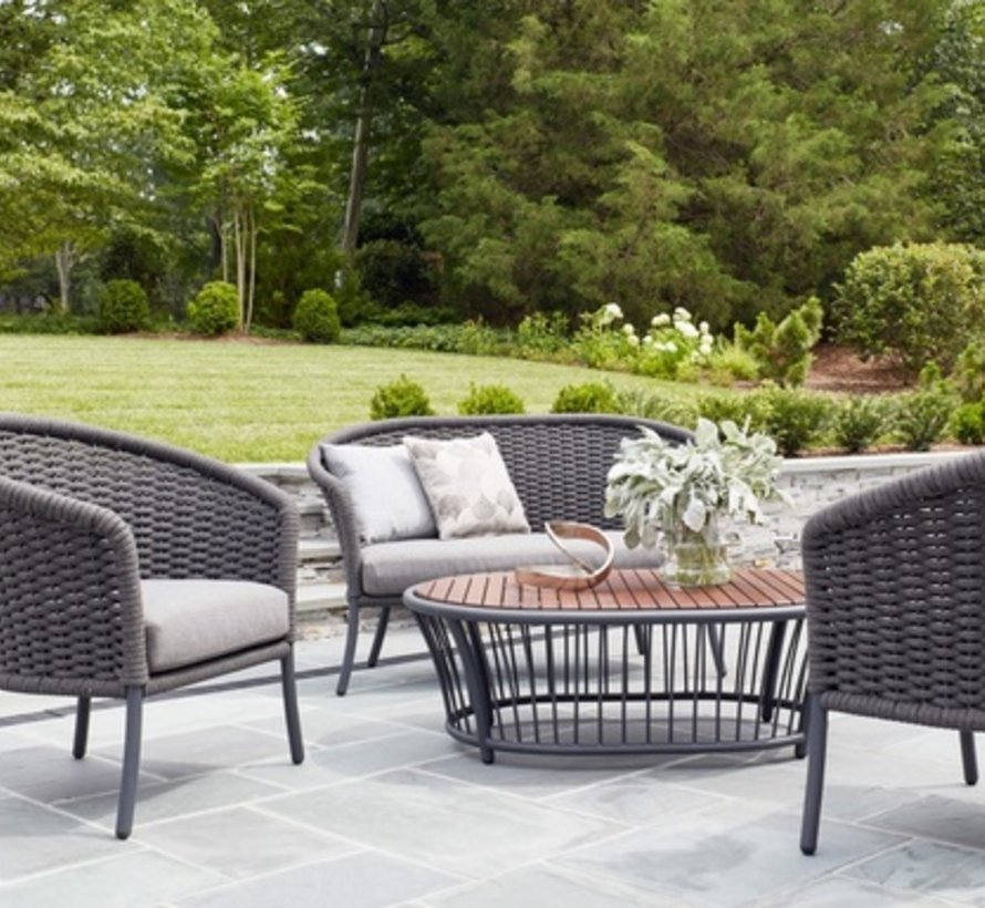CORDIAL CURVED LOVESEAT - GRAY