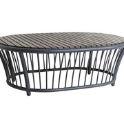 JENSEN LEISURE FURNITURE CORDIAL OVAL COFFEE TABLE - GRAY