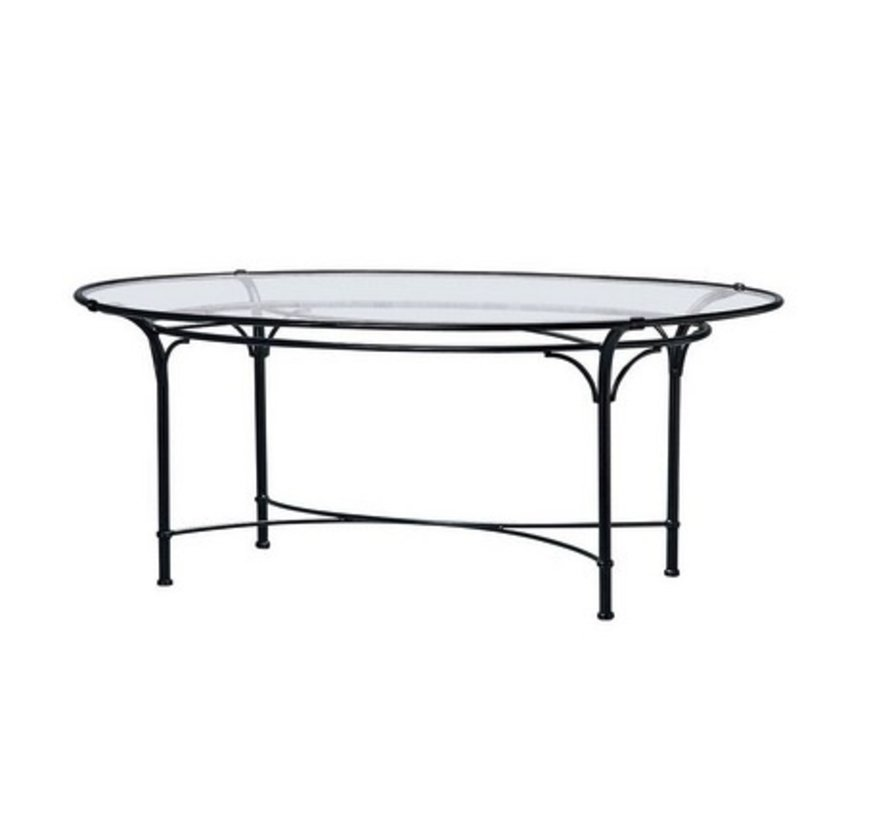 FLORENTINE 50 X 86 OVAL DINING TABLE WITH GLASS TOP