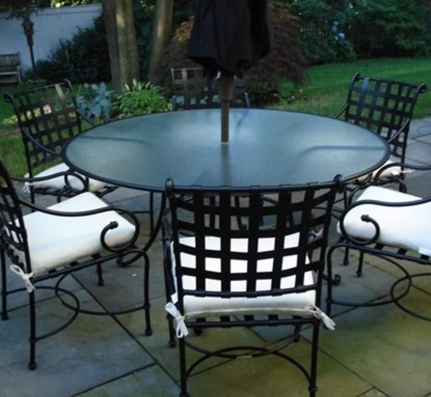 FLORENTINE 48 INCH ROUND DINING TABLE WITH GLASS TOP TO HOLD UMBRELLA