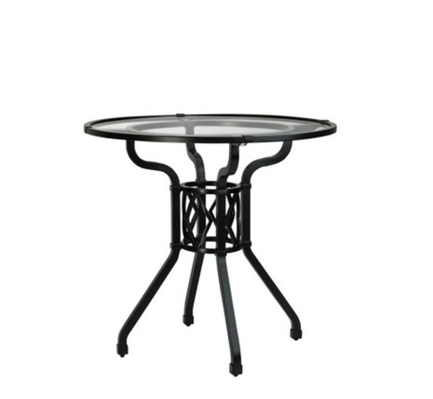 VENETIAN 30 INCH ROUND PEDESTAL DINING TABLE WITH GLASS TOP