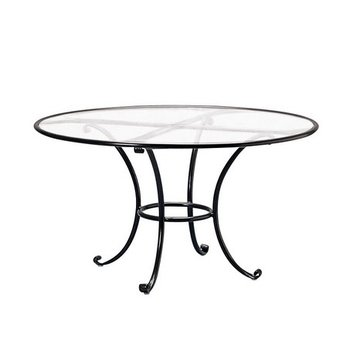 BROWN JORDAN ROMA 48 INCH ROUND DINING TABLE WITH CLEAR GLASS TOP