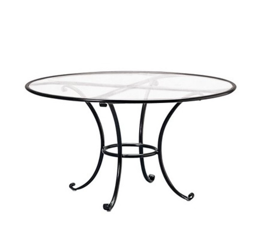 8a08a59d08b9 BROWN JORDAN ROMA 48 INCH ROUND DINING TABLE WITH CLEAR GLASS TOP ...