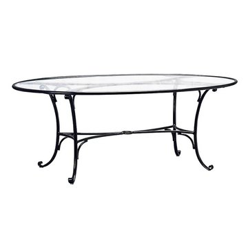 BROWN JORDAN ROMA 48x72 INCH OVAL DINING TABLE WITH CLEAR GLASS TOP