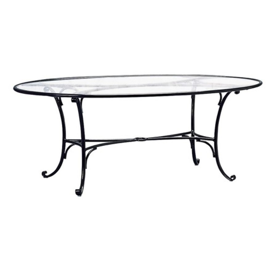 ROMA 48x72 INCH OVAL DINING TABLE WITH CLEAR GLASS TOP