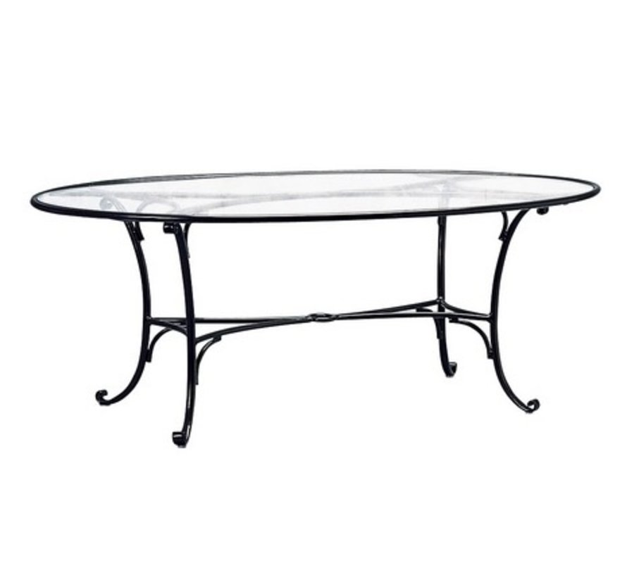 ROMA 50x86 OVAL UMBRELLA TABLE WITH GLASS TOP