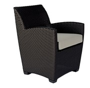 BROWN JORDAN FUSION DINING CHAIR IN BRONZE WITH GRADE A FABRIC