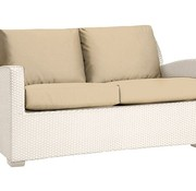 BROWN JORDAN FUSION PILLOW BACK LOVESEAT IN BRONZE WITH GRADE A FABRIC