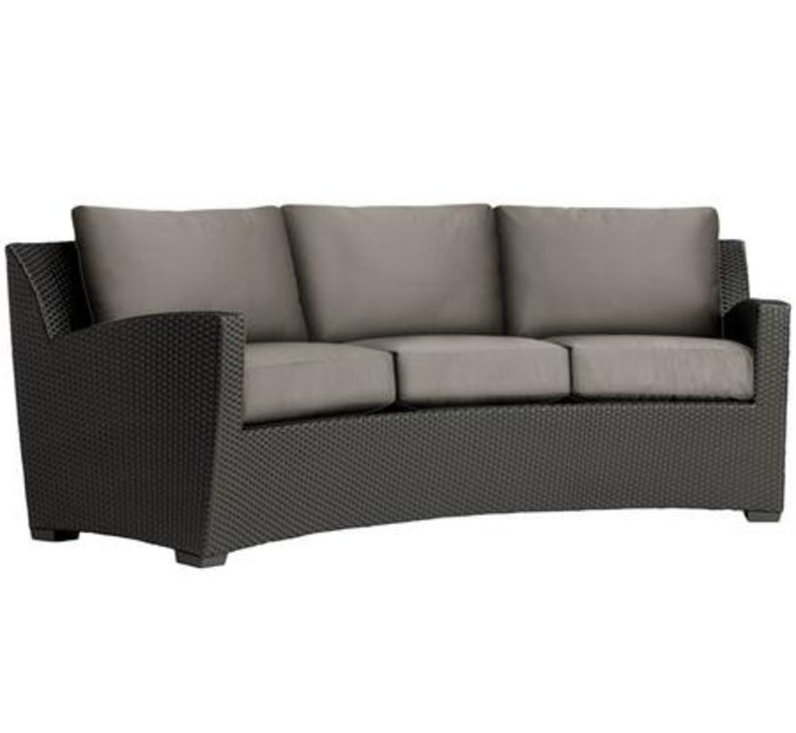 FUSION PILLOW BACK CUSHIONS CURVED SOFA IN BRONZE WITH GRADE A FABRIC