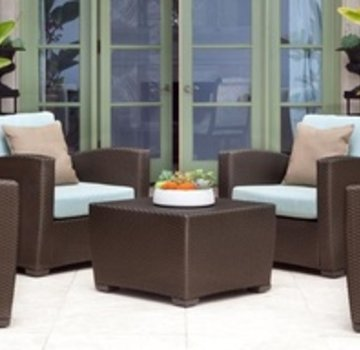 BROWN JORDAN FUSION SECTIONAL CLUB CHAIR IN BRONZE WITH GRADE A FABRIC