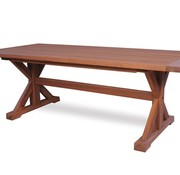 LLOYD FLANDERS TEAK 87x39 DINING TABLE WITH TRESTLE BASE