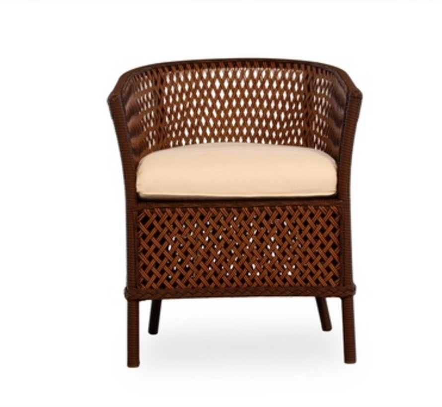 GRAND TRAVERSE BARREL DINING CHAIR WITH GRADE A FABRIC