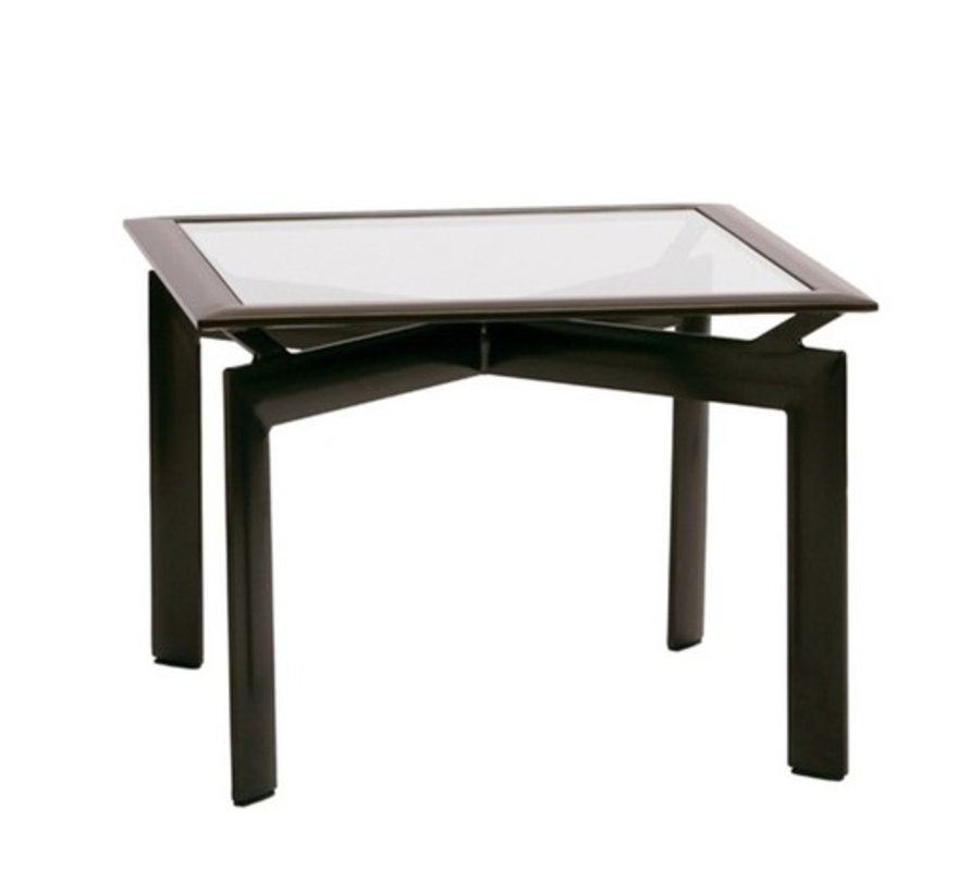 PARKWAY 29 INCH CORNER TABLE WITH GLASS TOP
