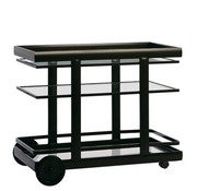 BROWN JORDAN PARKWAY SERVING CART WITH GLASS TOP AND SHELF