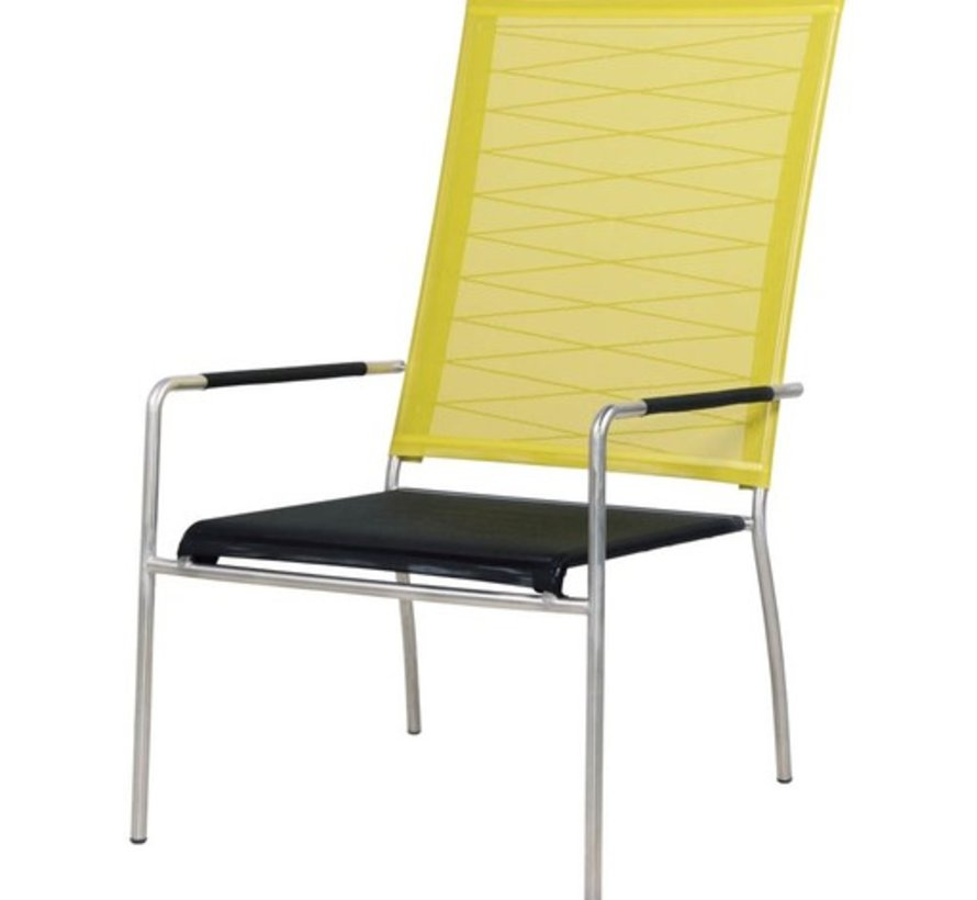 NATUN HIGH BACK CHAIR WITH STAINLESS STEEL FRAME AND STANDARD BATYLINE SLING