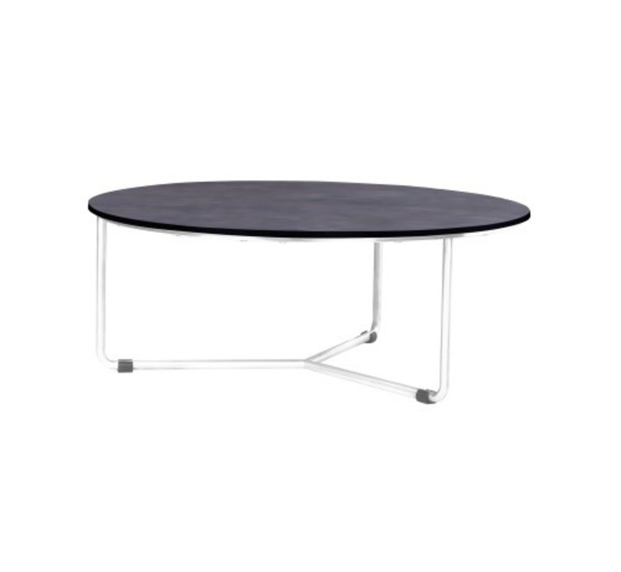 MEIKA LOW TABLE WITH STAINLESS OR POWDER COATED STAINLESS STEEL FRAME AND HPL TOP