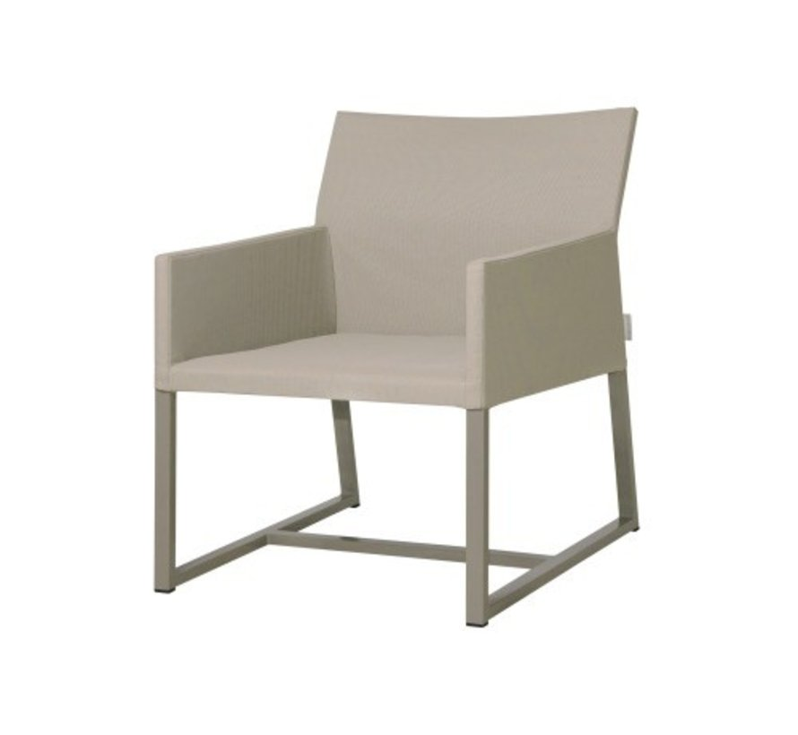 MONO CASUAL CHAIR WITH POWDER COATED ALUMINUM FRAME, TWITCHELL LEISURETEX UPHOLSTERY