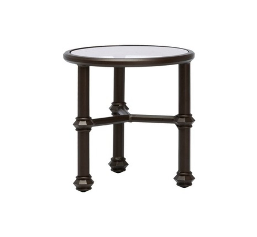 CAMPAIGN 20 ROUND OCCASIONAL TABLE WITH GLASS TOP