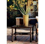 BROWN JORDAN CAMPAIGN 27 SQUARE OCCASIONAL TABLE WITH GLASS TOP